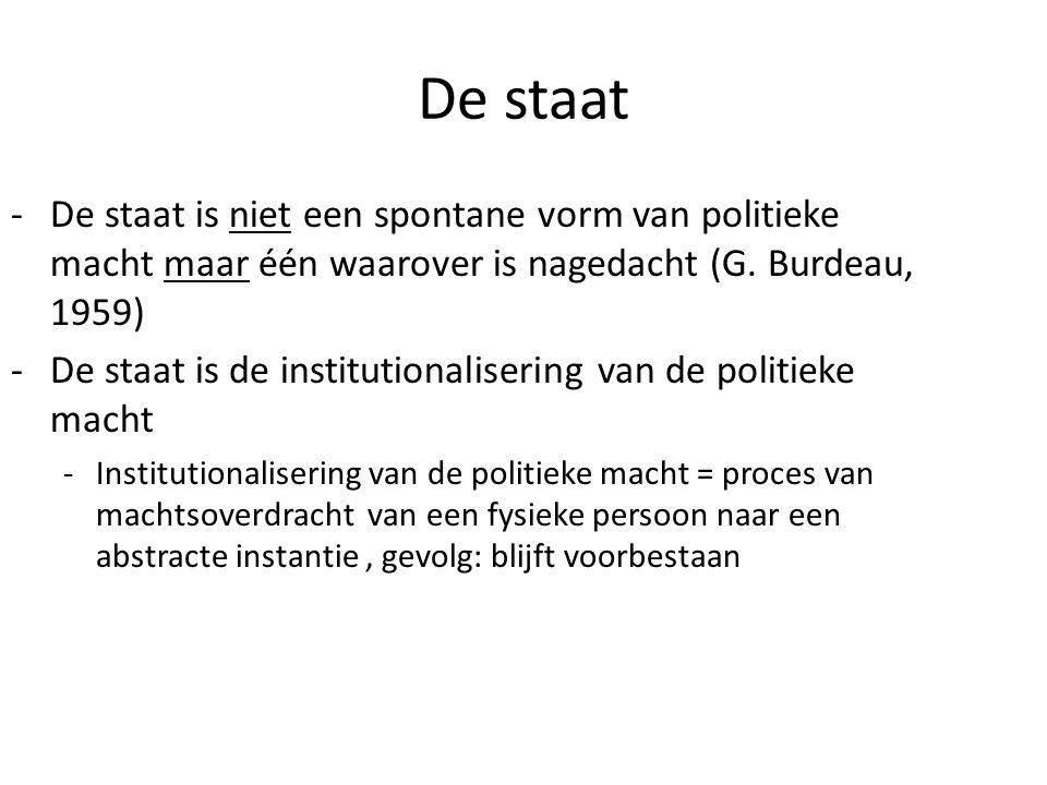 De staat -De staat is niet een spontane vorm van politieke macht maar één waarover is nagedacht (G. Burdeau, 1959) -De staat is de institutionaliserin
