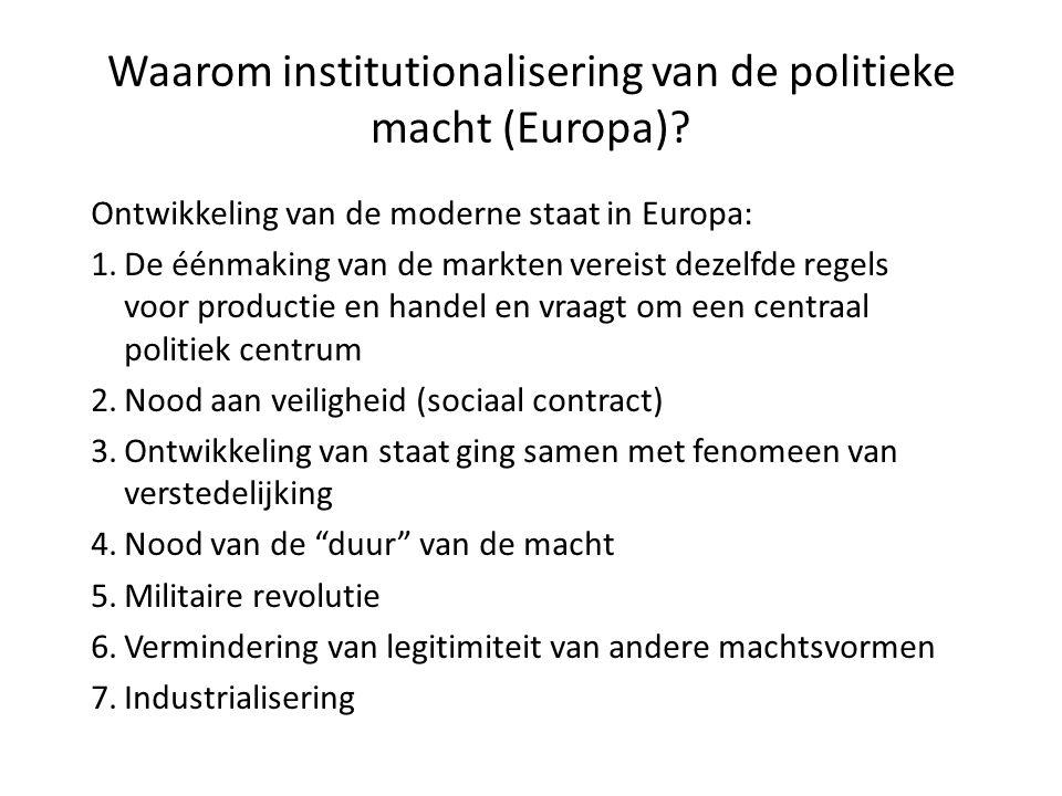 Waarom institutionalisering van de politieke macht (Europa)? Ontwikkeling van de moderne staat in Europa: 1.De éénmaking van de markten vereist dezelf