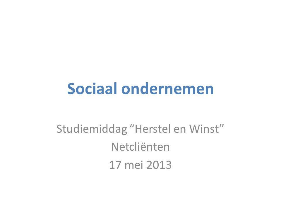 Sociaal ondernemen Studiemiddag Herstel en Winst Netcliënten 17 mei 2013