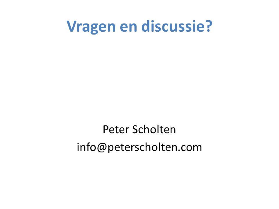 Vragen en discussie Peter Scholten info@peterscholten.com