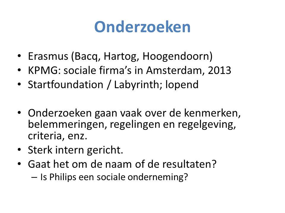 Onderzoeken Erasmus (Bacq, Hartog, Hoogendoorn) KPMG: sociale firma's in Amsterdam, 2013 Startfoundation / Labyrinth; lopend Onderzoeken gaan vaak over de kenmerken, belemmeringen, regelingen en regelgeving, criteria, enz.