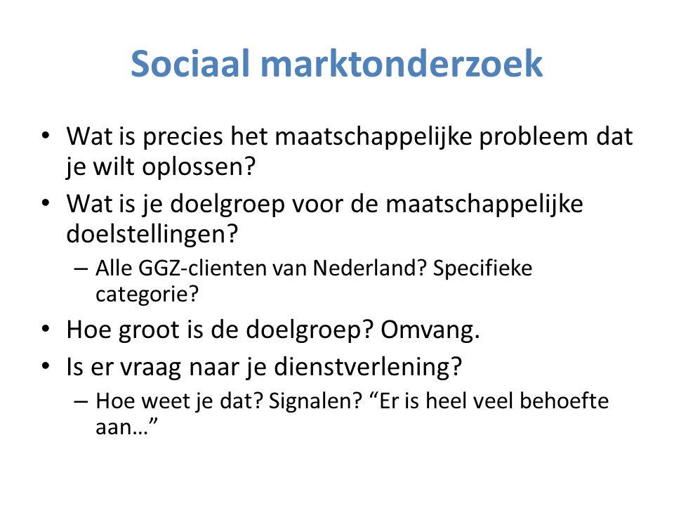 Sociaal marktonderzoek Wat is precies het maatschappelijke probleem dat je wilt oplossen.