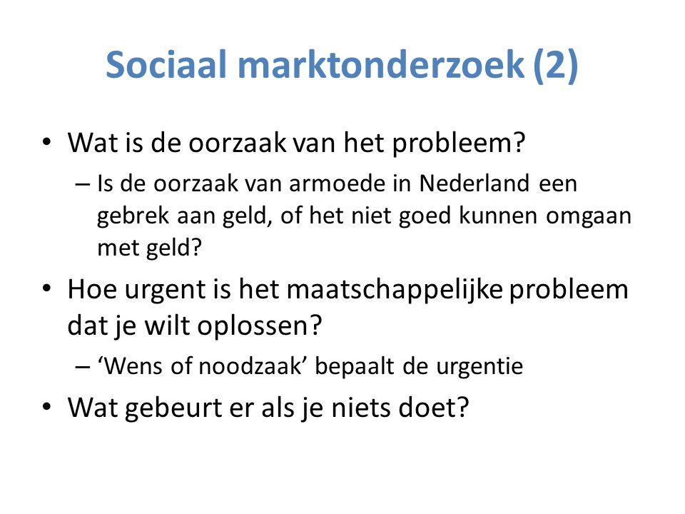 Sociaal Marktonderzoek (3) Vóór de interventie, vóór de firma, vóór de begroting: – Wat is precies het probleem.