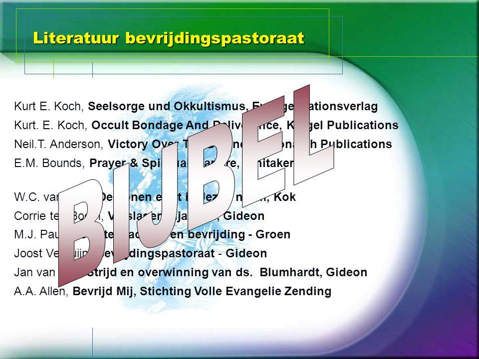 Literatuur bevrijdingspastoraat Joost Verduijn, Bevrijdingspastoraat - Gideon M.J. Paul, Occulte machten en bevrijding - Groen Kurt E. Koch, Seelsorge