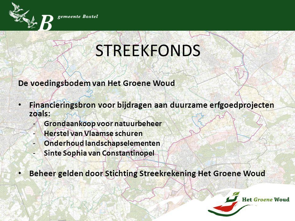 STREEKFONDS De voedingsbodem van Het Groene Woud Financieringsbron voor bijdragen aan duurzame erfgoedprojecten zoals: - Grondaankoop voor natuurbehee