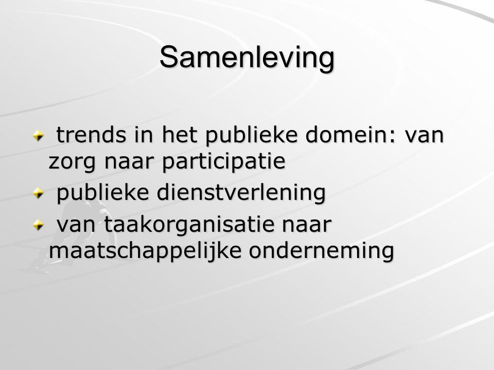 Samenleving trends in het publieke domein: van zorg naar participatie trends in het publieke domein: van zorg naar participatie publieke dienstverlening publieke dienstverlening van taakorganisatie naar maatschappelijke onderneming van taakorganisatie naar maatschappelijke onderneming