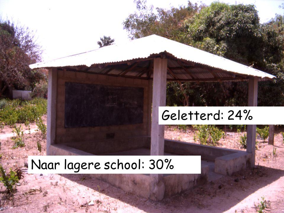 11 Geletterd: 24% Naar lagere school: 30%