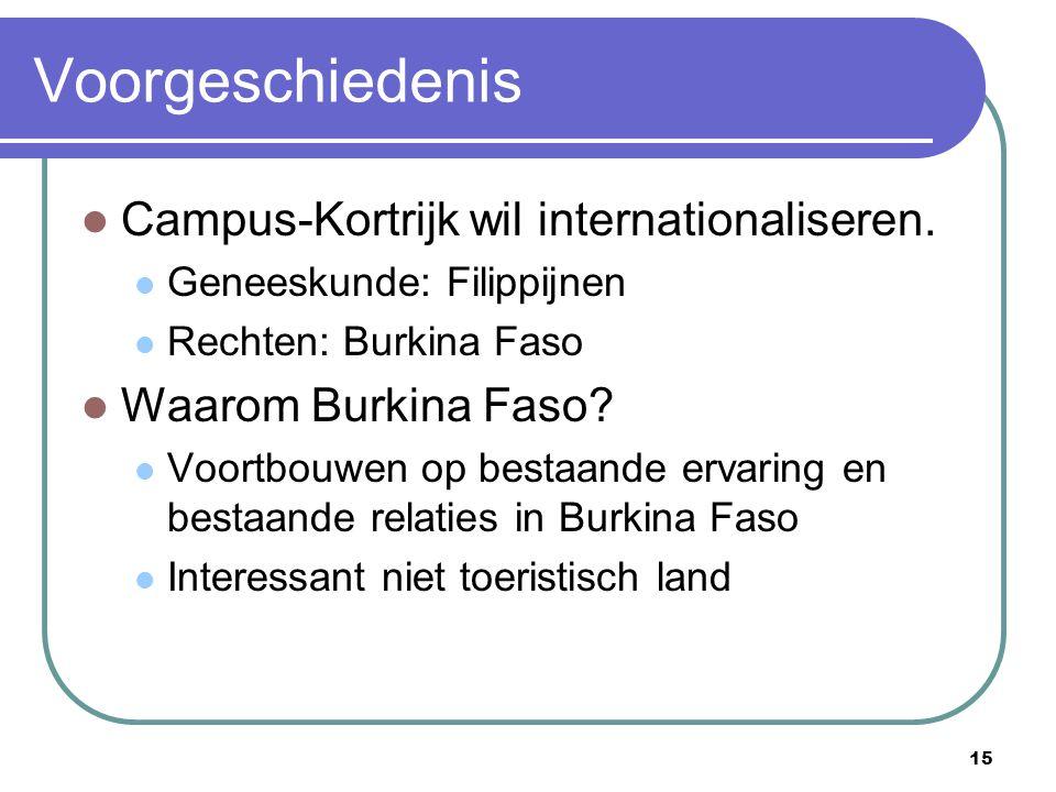 15 Voorgeschiedenis Campus-Kortrijk wil internationaliseren. Geneeskunde: Filippijnen Rechten: Burkina Faso Waarom Burkina Faso? Voortbouwen op bestaa