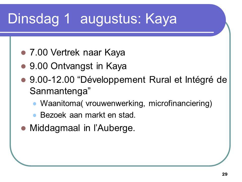 """29 Dinsdag 1 augustus: Kaya 7.00 Vertrek naar Kaya 9.00 Ontvangst in Kaya 9.00-12.00 """"Développement Rural et Intégré de Sanmantenga"""" Waanitoma( vrouwe"""