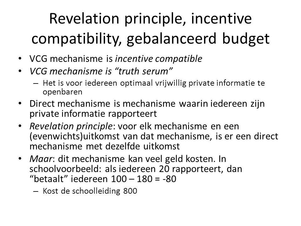"Revelation principle, incentive compatibility, gebalanceerd budget VCG mechanisme is incentive compatible VCG mechanisme is ""truth serum"" – Het is voo"