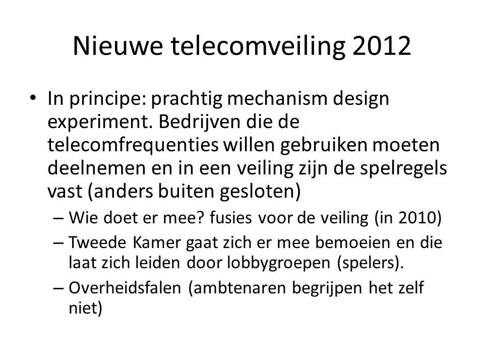 Nieuwe telecomveiling 2012 In principe: prachtig mechanism design experiment. Bedrijven die de telecomfrequenties willen gebruiken moeten deelnemen en