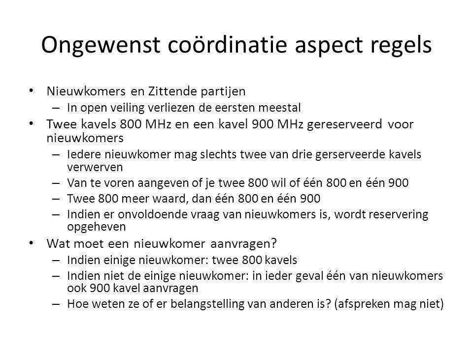 Ongewenst coördinatie aspect regels Nieuwkomers en Zittende partijen – In open veiling verliezen de eersten meestal Twee kavels 800 MHz en een kavel 9