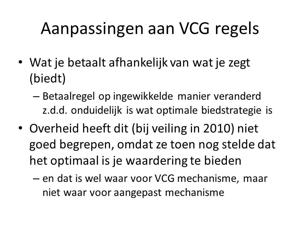 Aanpassingen aan VCG regels Wat je betaalt afhankelijk van wat je zegt (biedt) – Betaalregel op ingewikkelde manier veranderd z.d.d. onduidelijk is wa