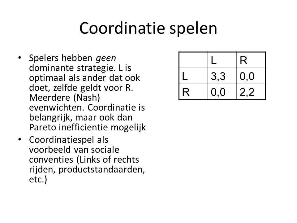 Coordinatie spelen Spelers hebben geen dominante strategie. L is optimaal als ander dat ook doet, zelfde geldt voor R. Meerdere (Nash) evenwichten. Co
