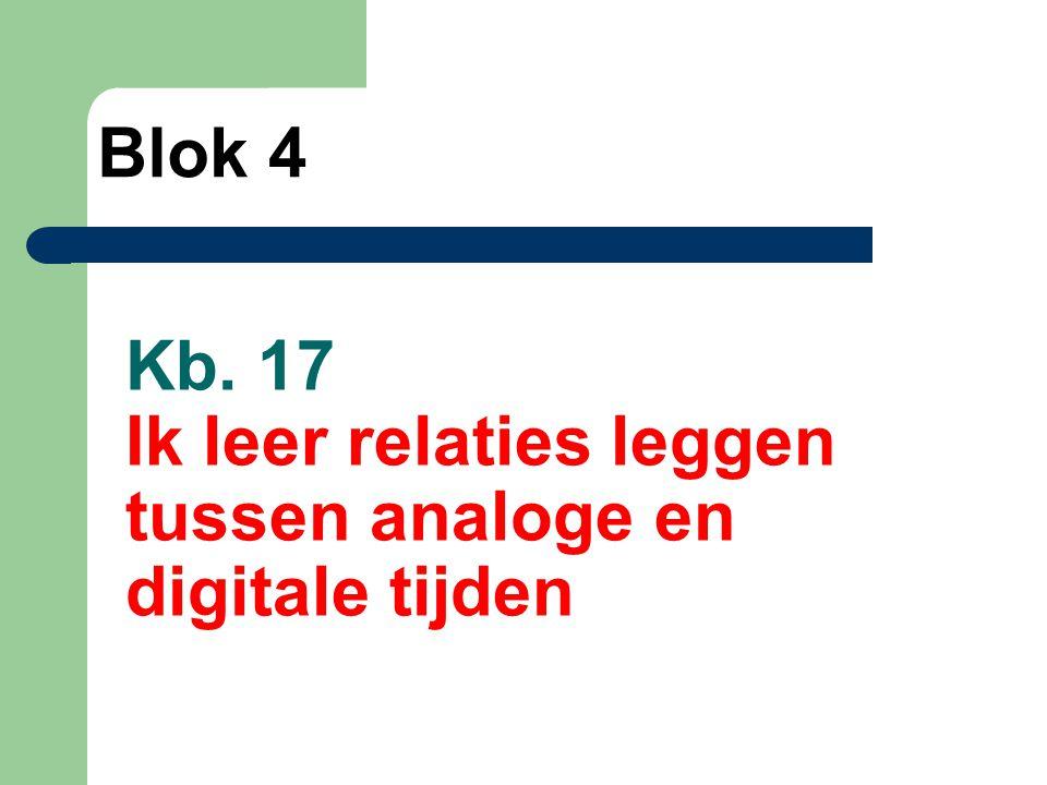 Kb. 17 Ik leer relaties leggen tussen analoge en digitale tijden Blok 4