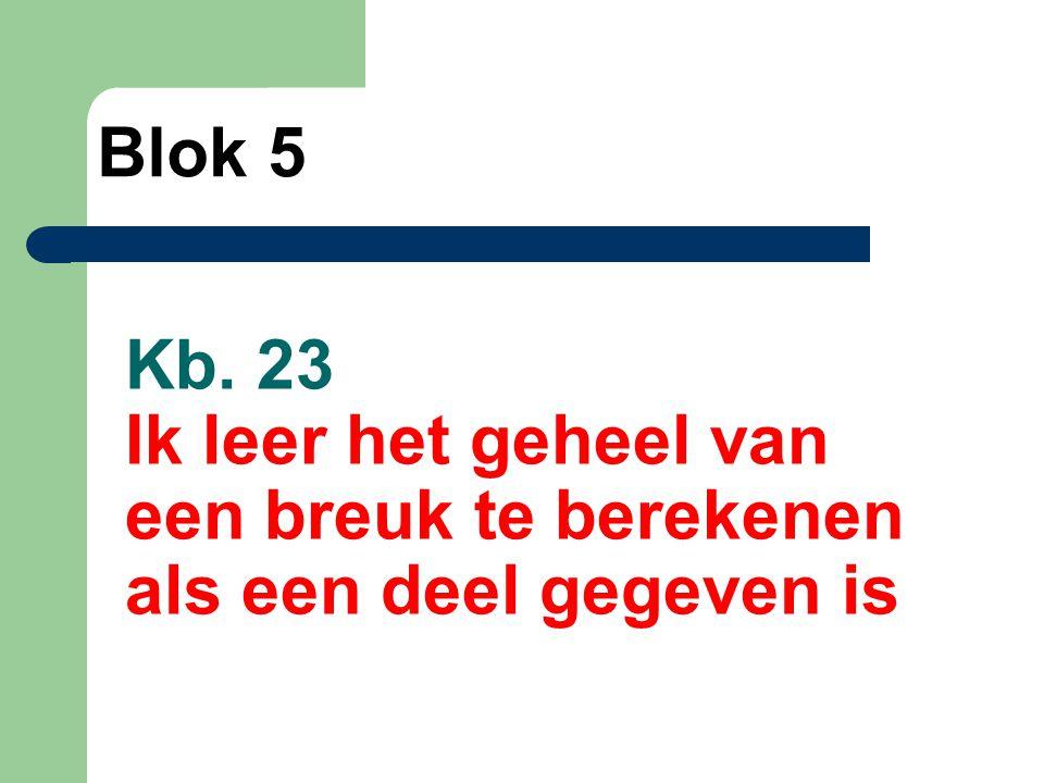Kb. 23 Ik leer het geheel van een breuk te berekenen als een deel gegeven is Blok 5