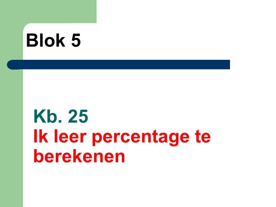 Kb. 25 Ik leer percentage te berekenen Blok 5