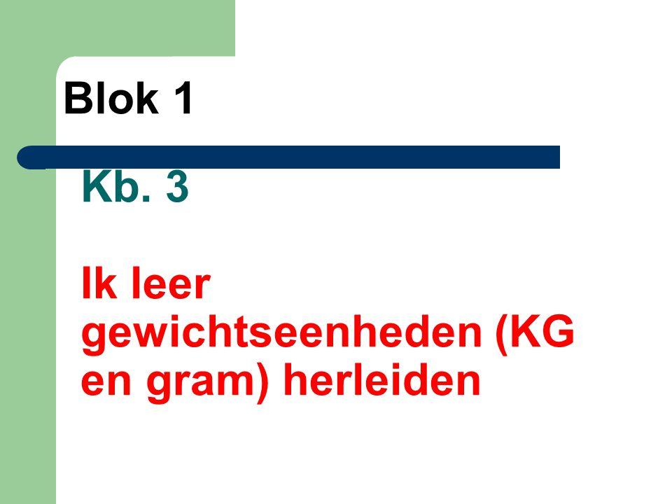 Kb. 3 Ik leer gewichtseenheden (KG en gram) herleiden Blok 1