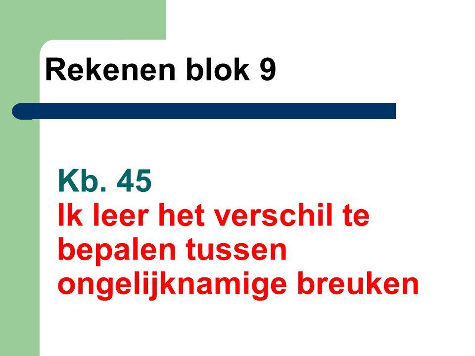 Kb. 45 Ik leer het verschil te bepalen tussen ongelijknamige breuken Rekenen blok 9