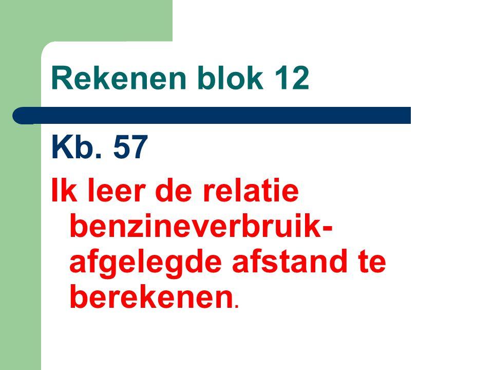 Rekenen blok 12 Kb. 57 Ik leer de relatie benzineverbruik- afgelegde afstand te berekenen.
