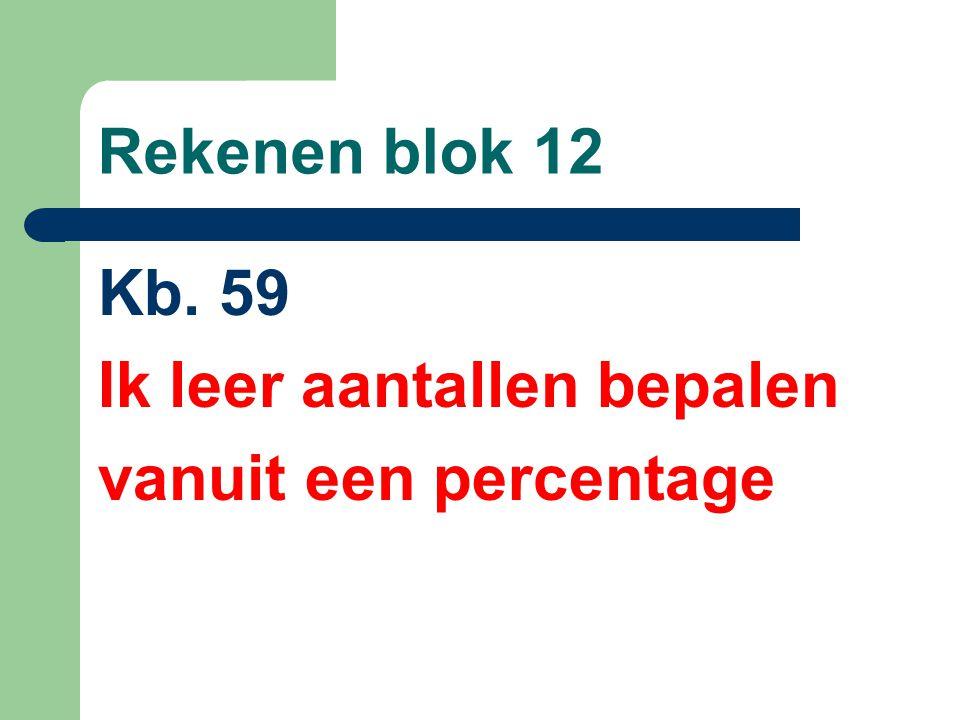 Rekenen blok 12 Kb. 59 Ik leer aantallen bepalen vanuit een percentage
