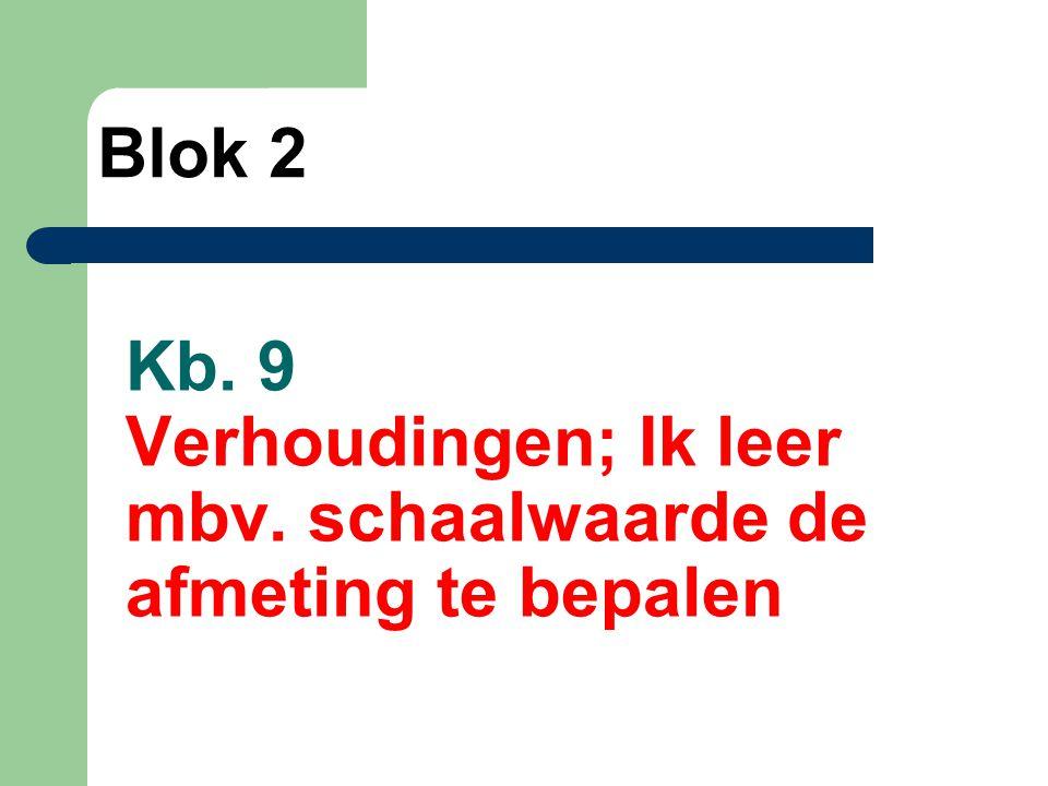 Kb. 9 Verhoudingen; Ik leer mbv. schaalwaarde de afmeting te bepalen Blok 2