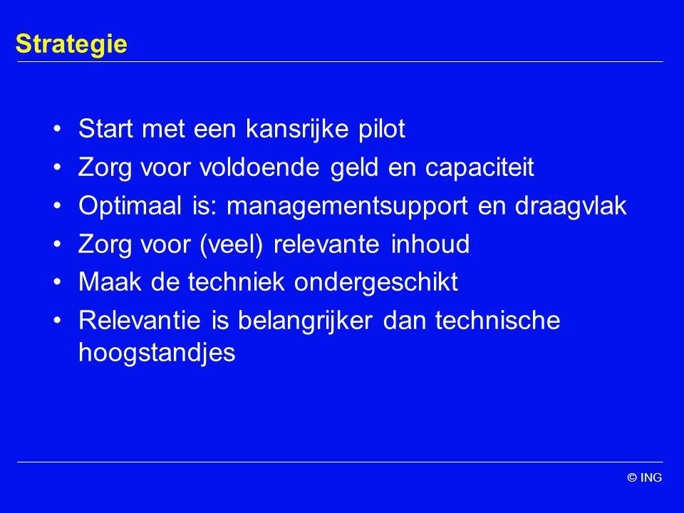 © ING Strategie Start met een kansrijke pilot Zorg voor voldoende geld en capaciteit Optimaal is: managementsupport en draagvlak Zorg voor (veel) relevante inhoud Maak de techniek ondergeschikt Relevantie is belangrijker dan technische hoogstandjes