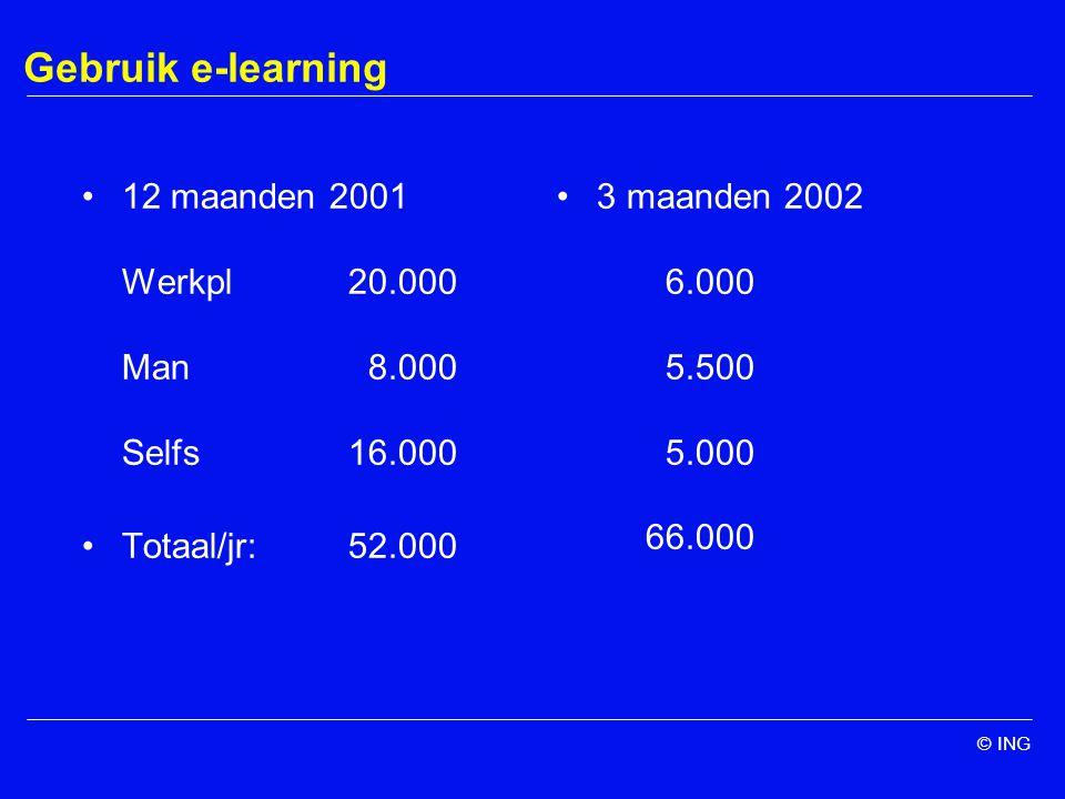 Gebruik e-learning 12 maanden 2001 Werkpl 20.000 Man 8.000 Selfs16.000 Totaal/jr:52.000 3 maanden 2002 6.000 5.500 5.000 66.000