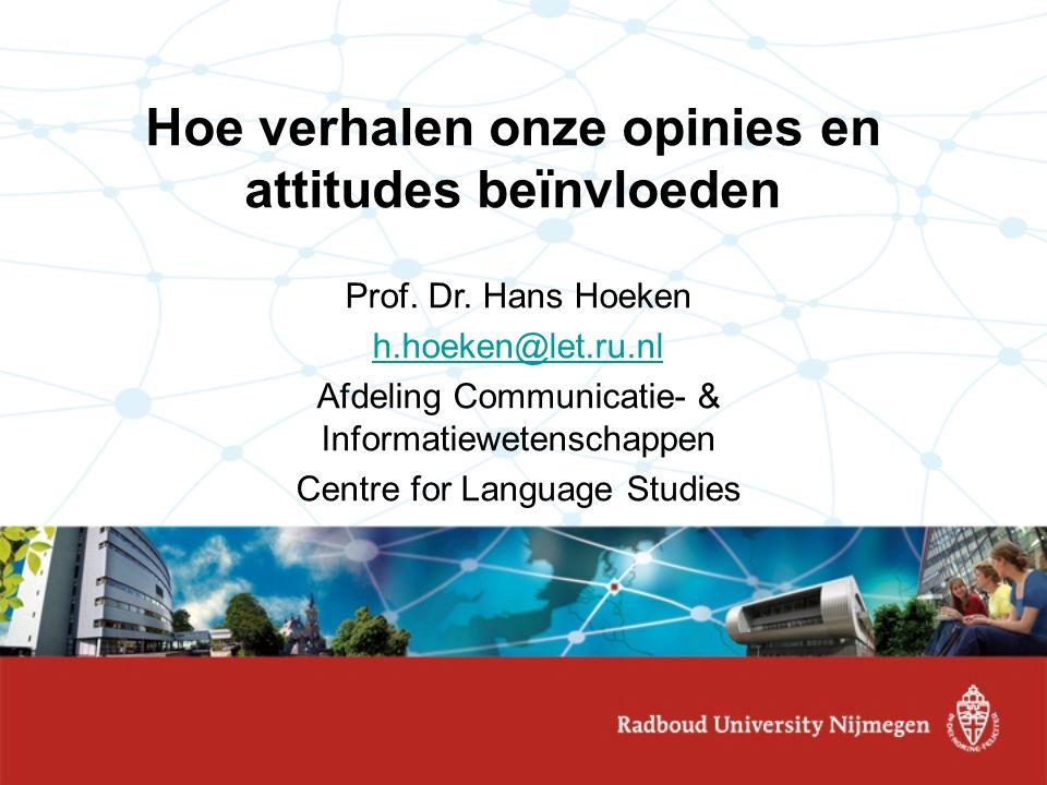 Deel 2: Mechanismen van narratieve overtuiging Experimenteel onderzoek naar effecten verhalen: –Overtuigingen: Green & Brock (2000); Strange & Leung (1999) –Attitudes: Moyer-Gusé & Nabi (2010), De Graaf, Hoeken, Sanders & Beentjes (2009) –Intenties: Diekman et al., 2000; Moyer-Gusé et al.