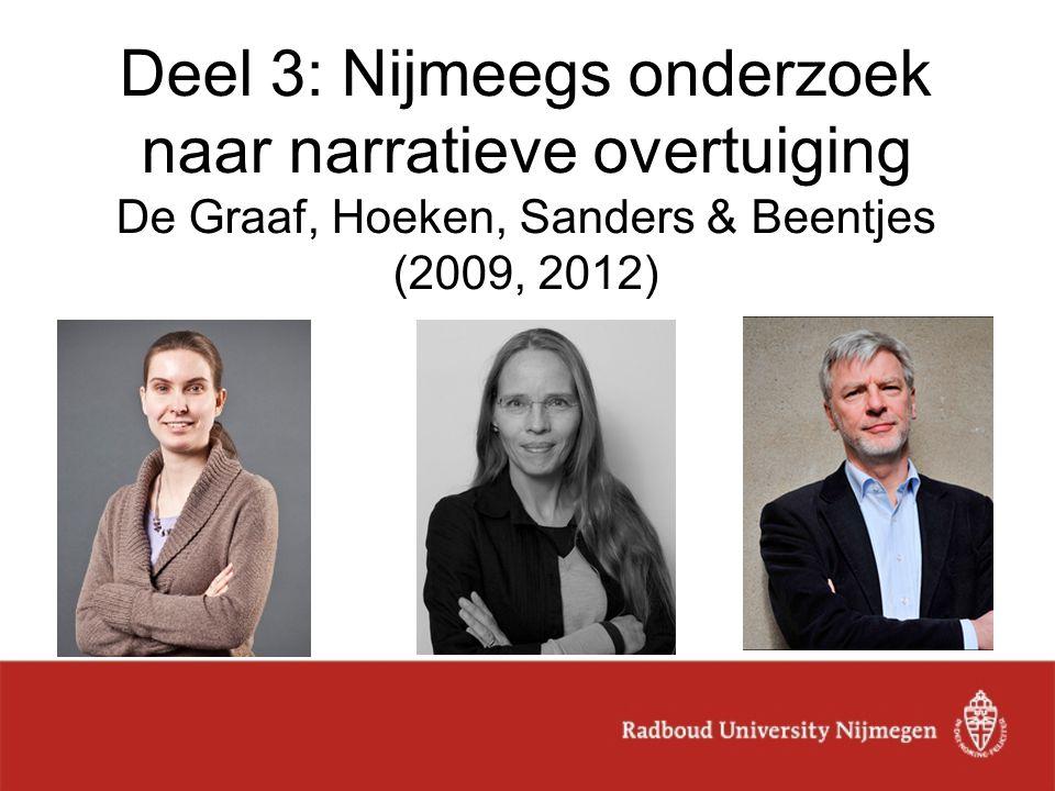 Deel 3: Nijmeegs onderzoek naar narratieve overtuiging De Graaf, Hoeken, Sanders & Beentjes (2009, 2012)