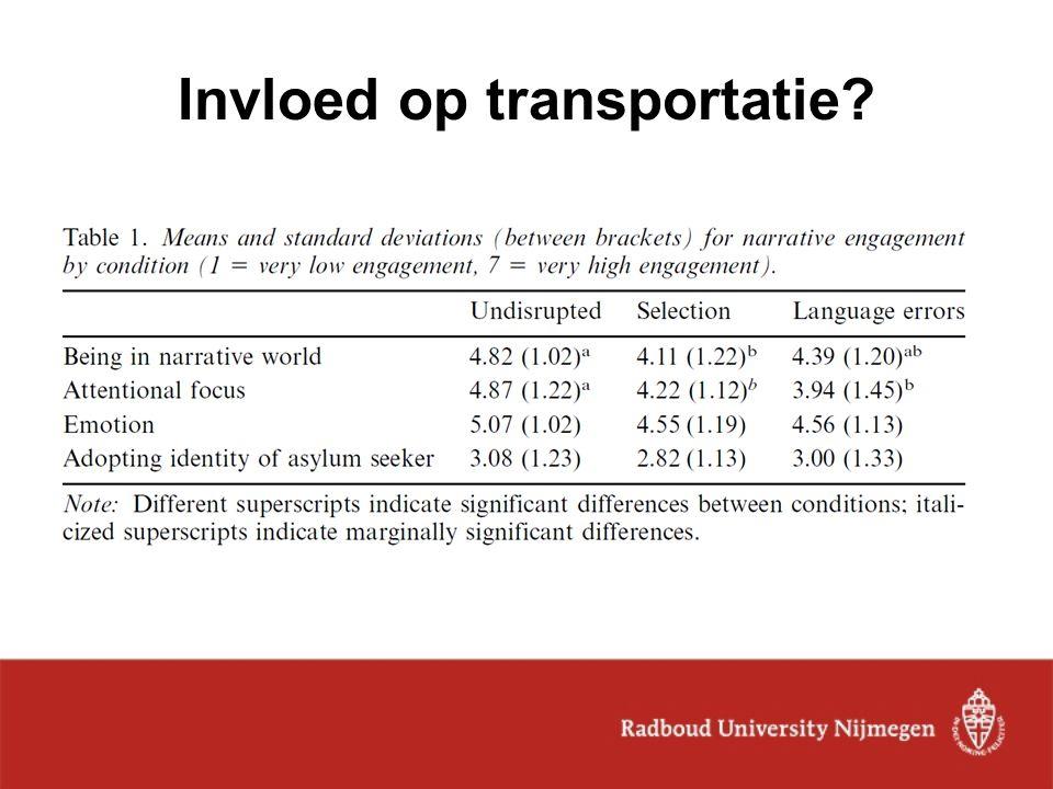 Invloed op transportatie?