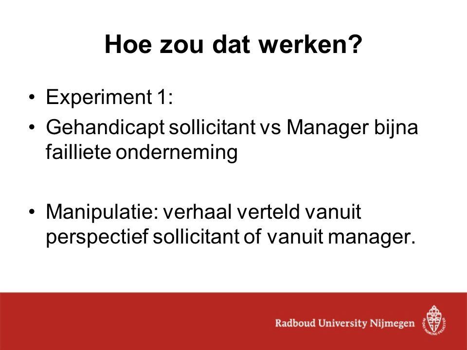 Hoe zou dat werken? Experiment 1: Gehandicapt sollicitant vs Manager bijna failliete onderneming Manipulatie: verhaal verteld vanuit perspectief solli