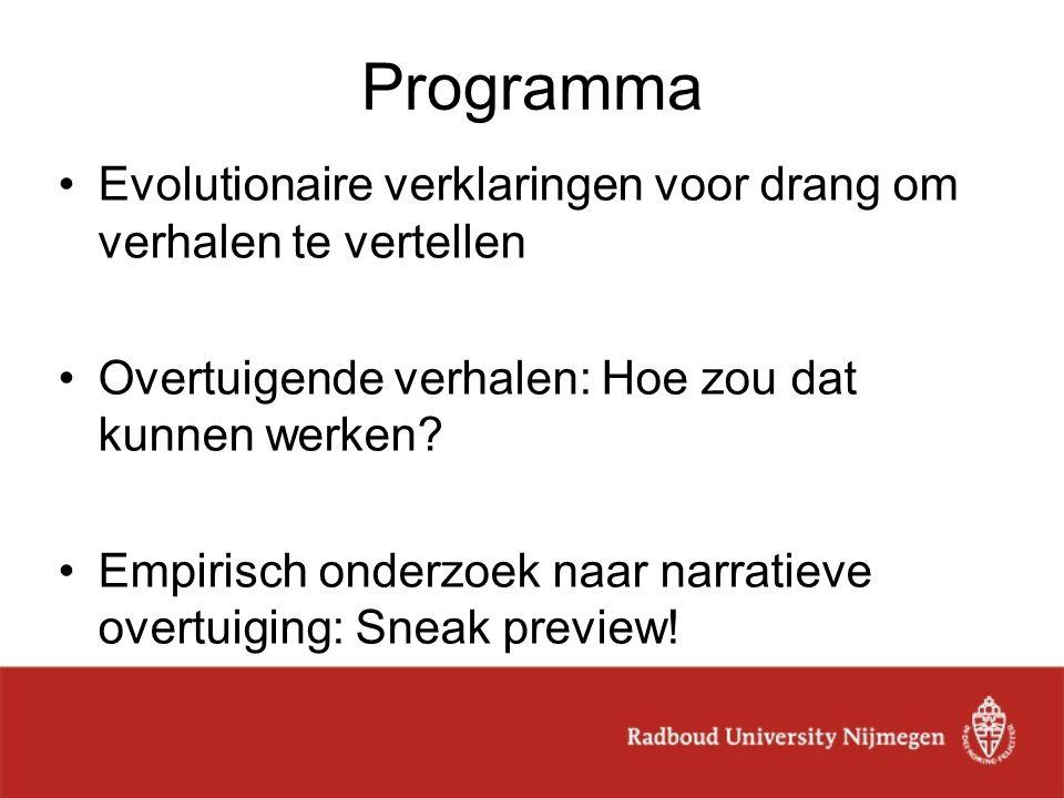 Taal en evolutie Taal instrument voor 3 doelen: 1.Verzoeken 2.Informeren 3.Verhalen vertellen Complexe(re) grammatica gevolg van complexere doelen