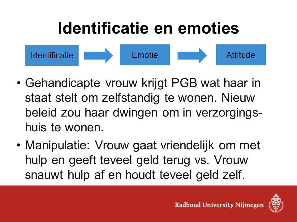 Identificatie en emoties Identificatie Emotie Gehandicapte vrouw krijgt PGB wat haar in staat stelt om zelfstandig te wonen. Nieuw beleid zou haar dwi