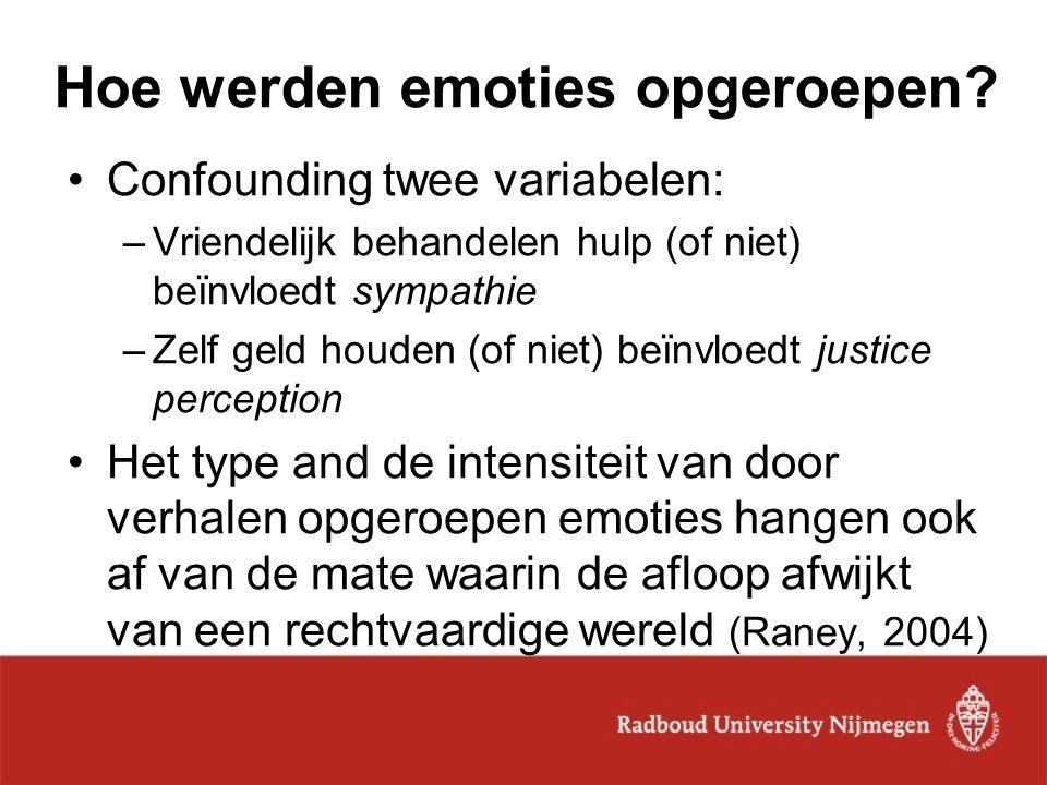Hoe werden emoties opgeroepen? Confounding twee variabelen: –Vriendelijk behandelen hulp (of niet) beïnvloedt sympathie –Zelf geld houden (of niet) be