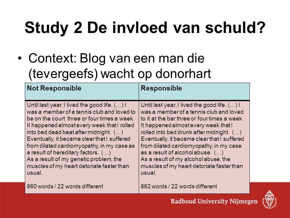 Study 2 De invloed van schuld? Context: Blog van een man die (tevergeefs) wacht op donorhart Not ResponsibleResponsible Until last year, I lived the g