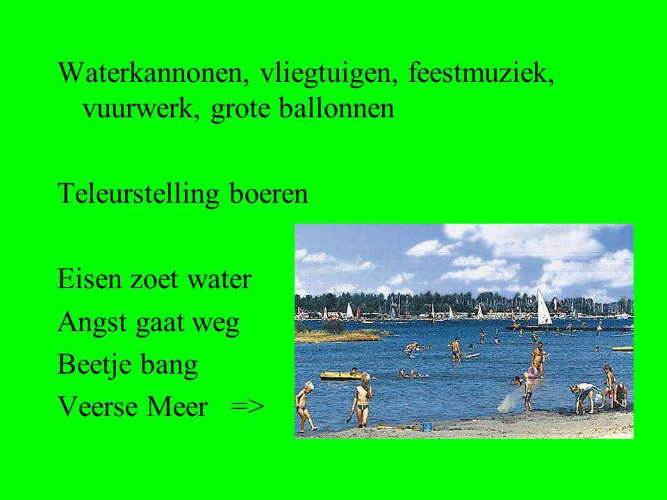 Waterkannonen, vliegtuigen, feestmuziek, vuurwerk, grote ballonnen Teleurstelling boeren Eisen zoet water Angst gaat weg Beetje bang Veerse Meer =>