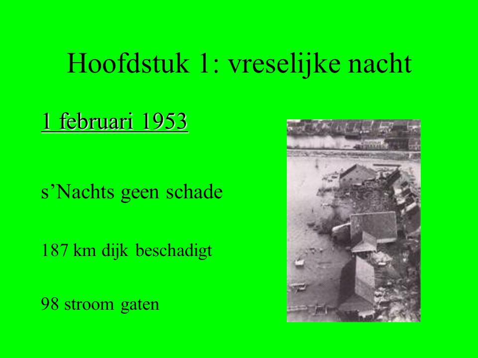 Hoofdstuk 1: vreselijke nacht 1 februari 1953 s'Nachts geen schade 187 km dijk beschadigt 98 stroom gaten