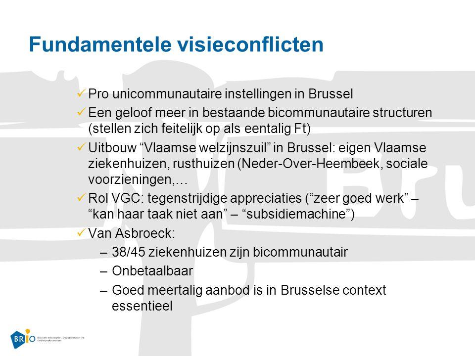 Fundamentele visieconflicten Pro unicommunautaire instellingen in Brussel Een geloof meer in bestaande bicommunautaire structuren (stellen zich feitelijk op als eentalig Ft) Uitbouw Vlaamse welzijnszuil in Brussel: eigen Vlaamse ziekenhuizen, rusthuizen (Neder-Over-Heembeek, sociale voorzieningen,… Rol VGC: tegenstrijdige appreciaties ( zeer goed werk – kan haar taak niet aan – subsidiemachine ) Van Asbroeck: –38/45 ziekenhuizen zijn bicommunautair –Onbetaalbaar –Goed meertalig aanbod is in Brusselse context essentieel