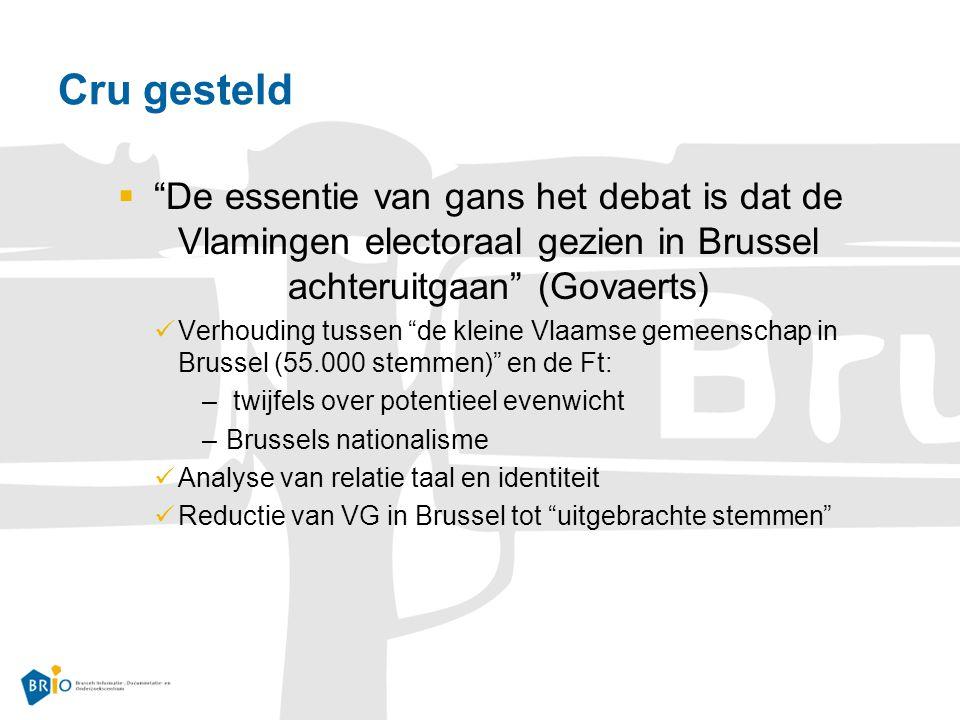 Cru gesteld  De essentie van gans het debat is dat de Vlamingen electoraal gezien in Brussel achteruitgaan (Govaerts) Verhouding tussen de kleine Vlaamse gemeenschap in Brussel (55.000 stemmen) en de Ft: – twijfels over potentieel evenwicht –Brussels nationalisme Analyse van relatie taal en identiteit Reductie van VG in Brussel tot uitgebrachte stemmen