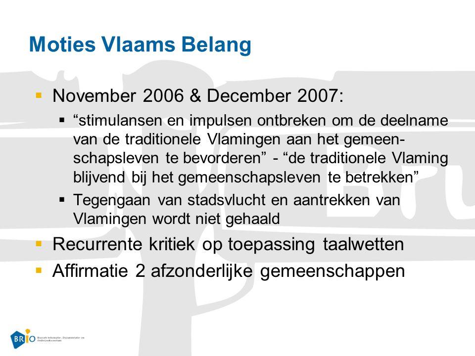 Moties Vlaams Belang  November 2006 & December 2007:  stimulansen en impulsen ontbreken om de deelname van de traditionele Vlamingen aan het gemeen- schapsleven te bevorderen - de traditionele Vlaming blijvend bij het gemeenschapsleven te betrekken  Tegengaan van stadsvlucht en aantrekken van Vlamingen wordt niet gehaald  Recurrente kritiek op toepassing taalwetten  Affirmatie 2 afzonderlijke gemeenschappen