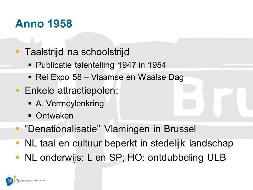 Anno 1958  Taalstrijd na schoolstrijd  Publicatie talentelling 1947 in 1954  Rel Expo 58 – Vlaamse en Waalse Dag  Enkele attractiepolen:  A.