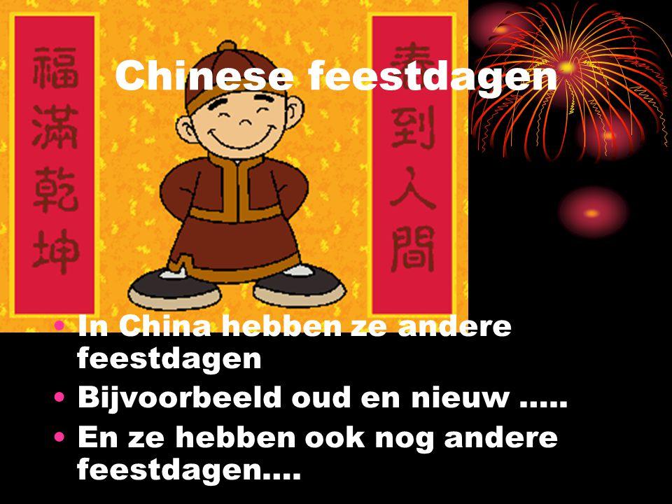 Chinese feestdagen In China hebben ze andere feestdagen Bijvoorbeeld oud en nieuw ….. En ze hebben ook nog andere feestdagen….