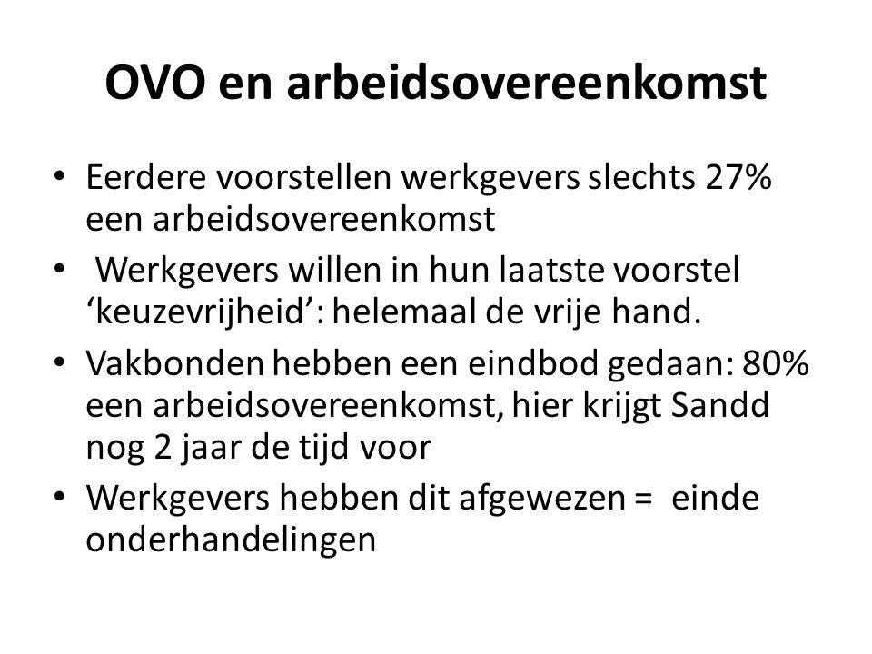 OVO en arbeidsovereenkomst Eerdere voorstellen werkgevers slechts 27% een arbeidsovereenkomst Werkgevers willen in hun laatste voorstel 'keuzevrijheid