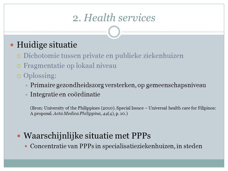 2. Health services Huidige situatie  Dichotomie tussen private en publieke ziekenhuizen  Fragmentatie op lokaal niveau  Oplossing:  Primaire gezon