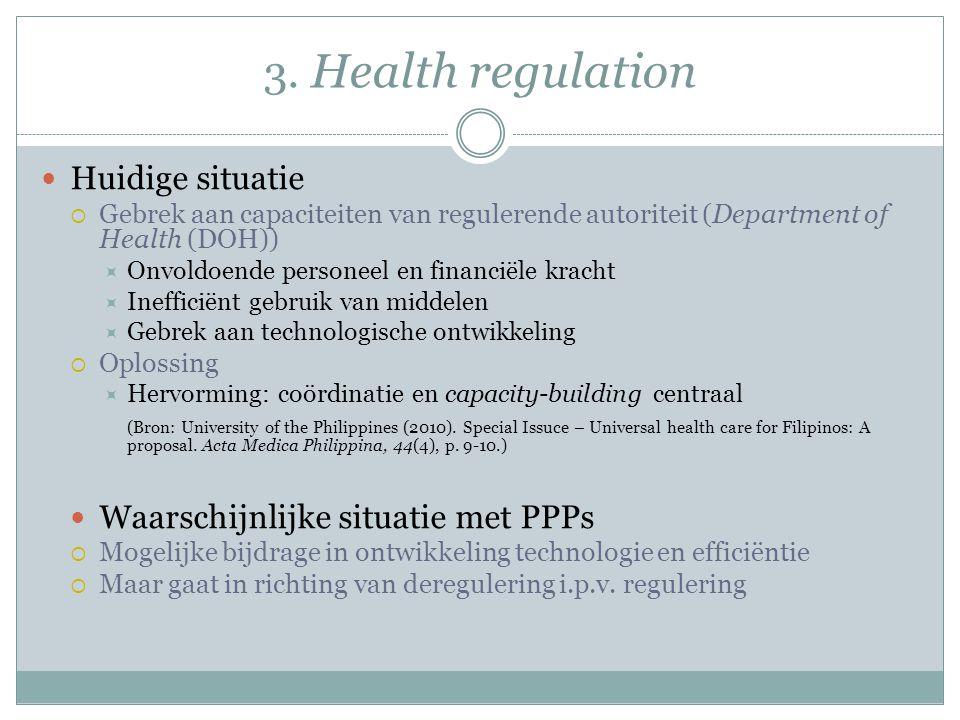3. Health regulation Huidige situatie  Gebrek aan capaciteiten van regulerende autoriteit (Department of Health (DOH))  Onvoldoende personeel en fin