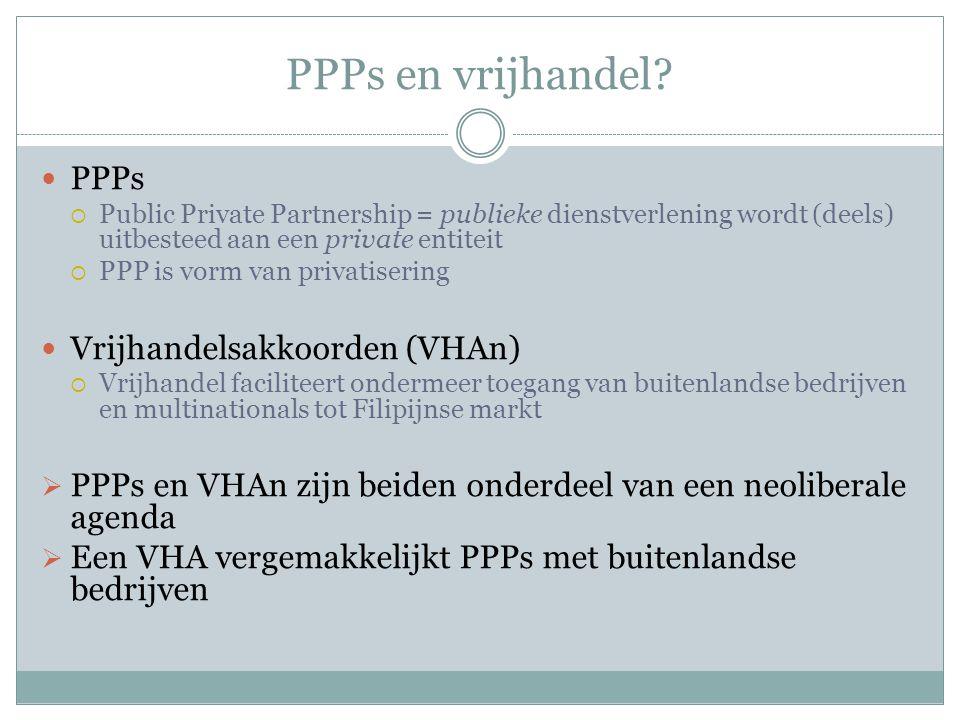 PPPs en vrijhandel? PPPs  Public Private Partnership = publieke dienstverlening wordt (deels) uitbesteed aan een private entiteit  PPP is vorm van p