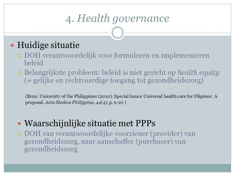 4. Health governance Huidige situatie  DOH verantwoordelijk voor formuleren en implementeren beleid  Belangrijkste probleem: beleid is niet gericht