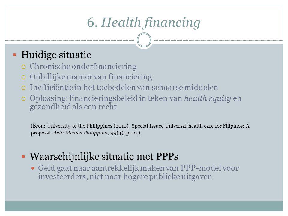 6. Health financing Huidige situatie  Chronische onderfinanciering  Onbillijke manier van financiering  Inefficiëntie in het toebedelen van schaars