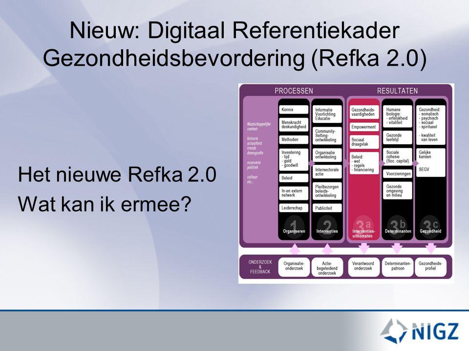 Nieuw: Digitaal Referentiekader Gezondheidsbevordering (Refka 2.0) Het nieuwe Refka 2.0 Wat kan ik ermee?